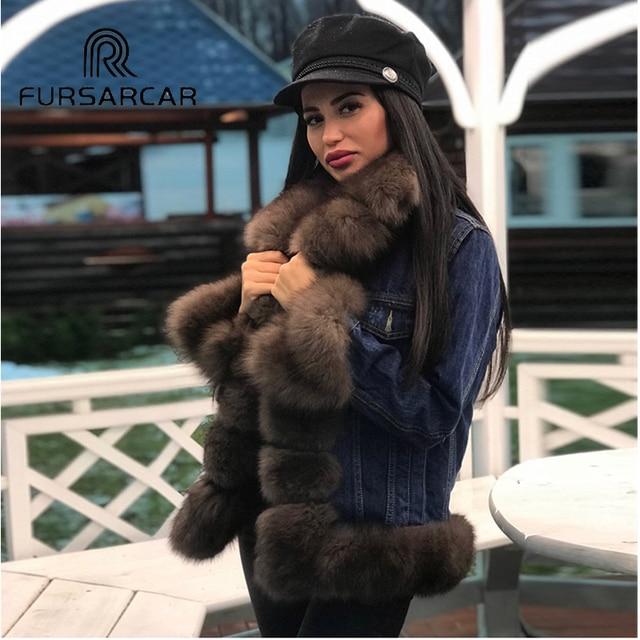 FURSARCAR 2018 Denim Parka Echte Bontjas Winterjas Vrouwen Dikke Warme Bont Parka Real Fur Jacket Real Natuurlijke Vos bontjas