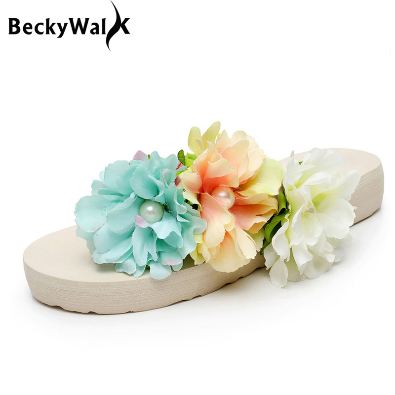 BeckyWalk Women Flip Flops Summer Beach Sandals Bohemian Flowers Ladies Slippers Platform Shoes Woman Plus Size 35-42 WSH2660 2017 summer pearl women slippers velvet sandals flip flops slip on flats woman beach platform women shoes plus size 35 39