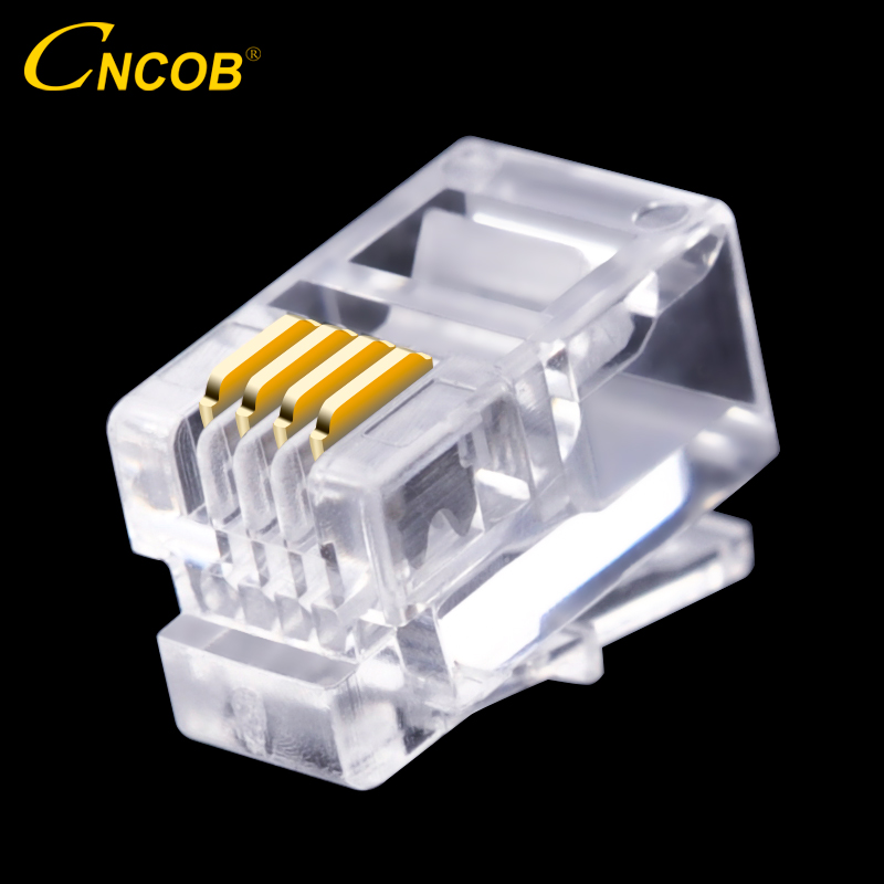 CNCOB 4P4C RJ9 teléfono conector de 4-core conector de audio 4-cable macho chapado en oro cobre chip 100 unids