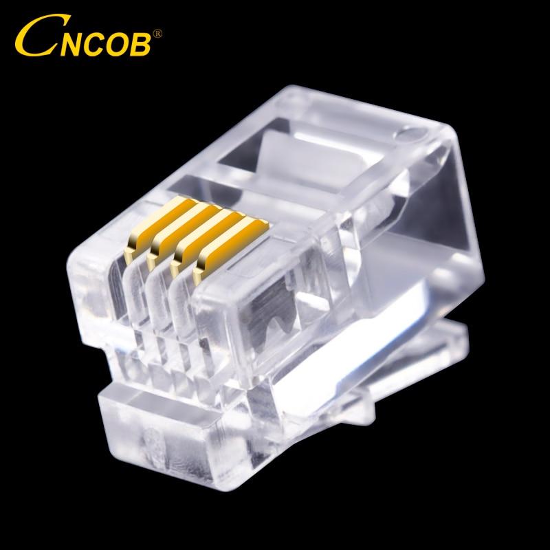CNCOB 4P4C RJ9 conector del auricular teléfono 4-core audio conector 4 enchufe de cobre chapado en oro chip 100 piezas