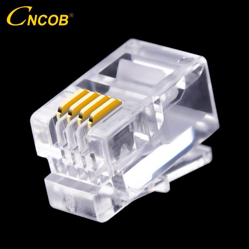 CNCOB 4P4C RJ9 telephone handset connector 4-core audio connector 4-wire plug Gold-plated copper chip 100pcs