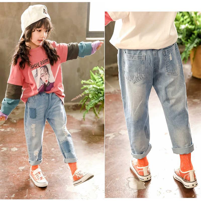 Çocuk Giyim Kız Sonbahar pamuklu pantolonlar 2019 Çocuk günlük kot Tayt Mavi Renk Kadın Çocuk Delik Pantolon kalem pantolon