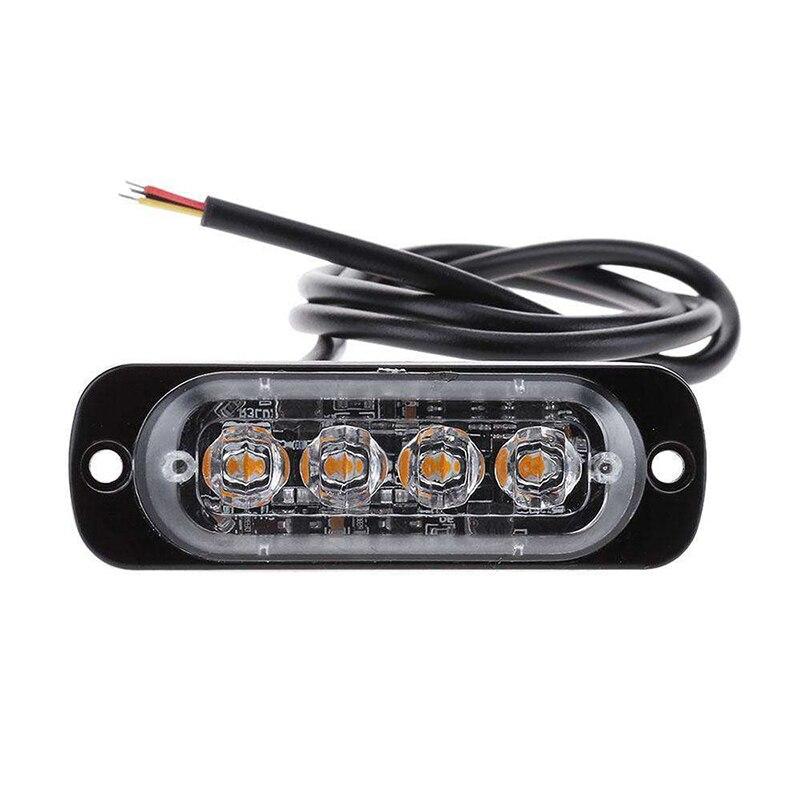 6Pcs 4-LED Strobe Lights Emergency Flashing Warning Beacon Amber 12V 24V