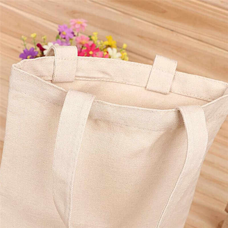 Canvas Tote Bag Casual Beach HandBag Eco Shopping Bag Daily Use Foldable Canvas Shoulder Bag Canvas Tote for Women Female 3Sizes