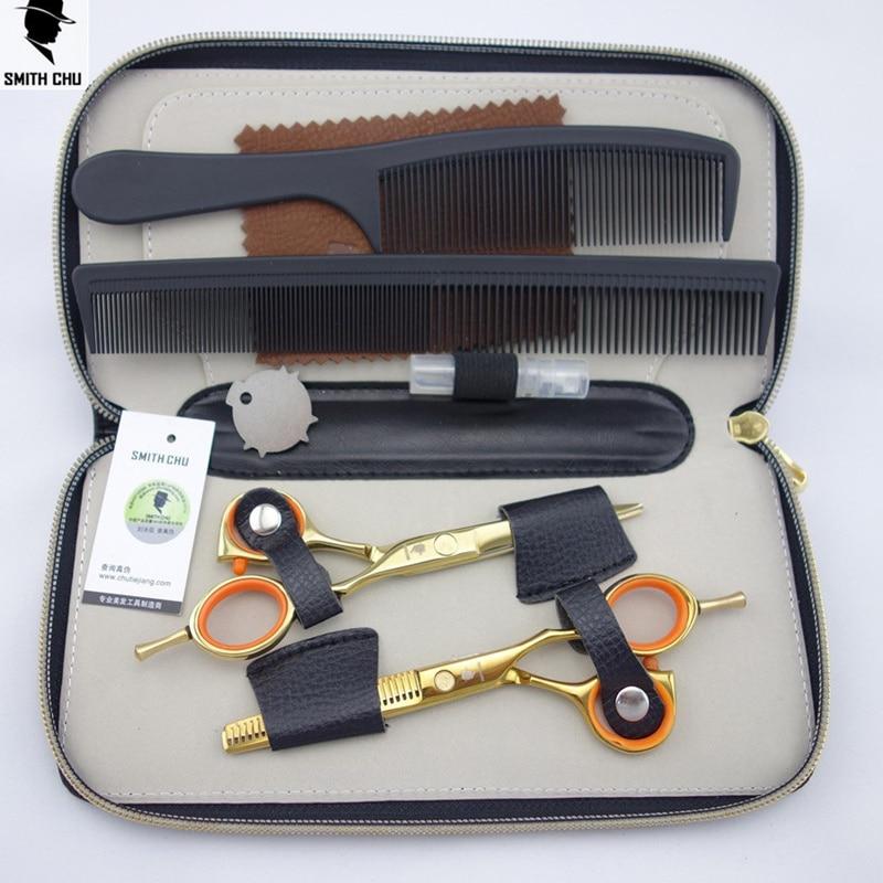 Smith Chu 5.5 inç Profesionale për gërshërë për prerjen e flokëve Vendosjen e prerjeve + Veshjet e Barberit me prerje 2 copë të vendosura + rasti + krehër * 2