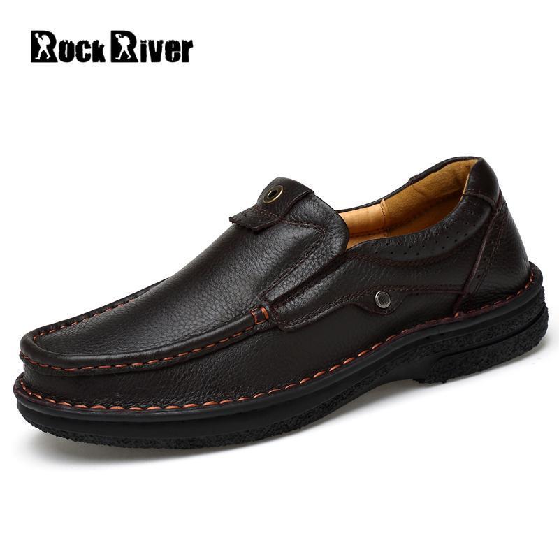Rock River Men Plus Size 48 Genuine Leather Casual Shoes Business Office Shoes Men's Autumn Winter Short Plush Loafers Shoes frank buytendijk dealing with dilemmas where business analytics fall short