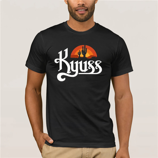 d8ebd53d426591 Kyuss Logo Black T shirt Men Shirt Rock Band Tee Music-in T-Shirts ...