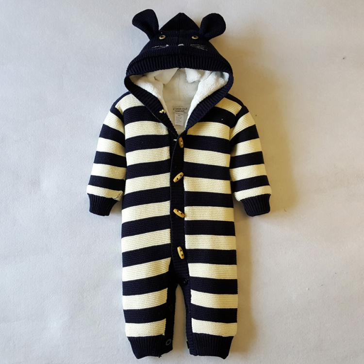 Baby Winter Romper Boys Clothes Hooded Cotton Knitted + Velvet Clothing For Infant Girl Warm Toddler Costume 3M-18M XW puseky 2017 infant romper baby boys girls jumpsuit newborn bebe clothing hooded toddler baby clothes cute panda romper costumes