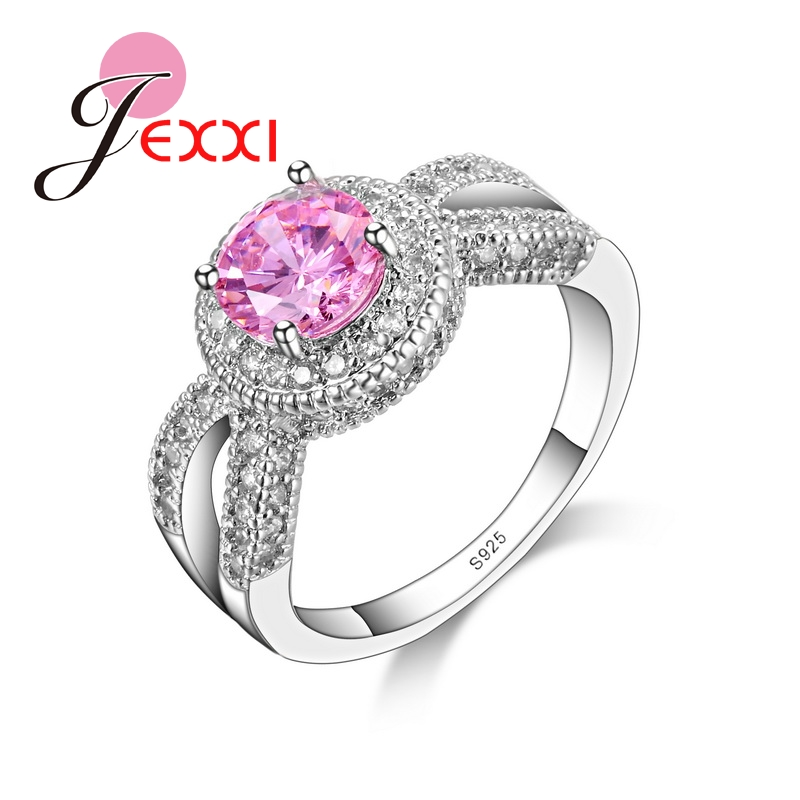 JEXXI Fashion Bridal Jewelry 2018 Luxury Pink CZ 925 Sterling Silver Wedding Engagement Rings For Women