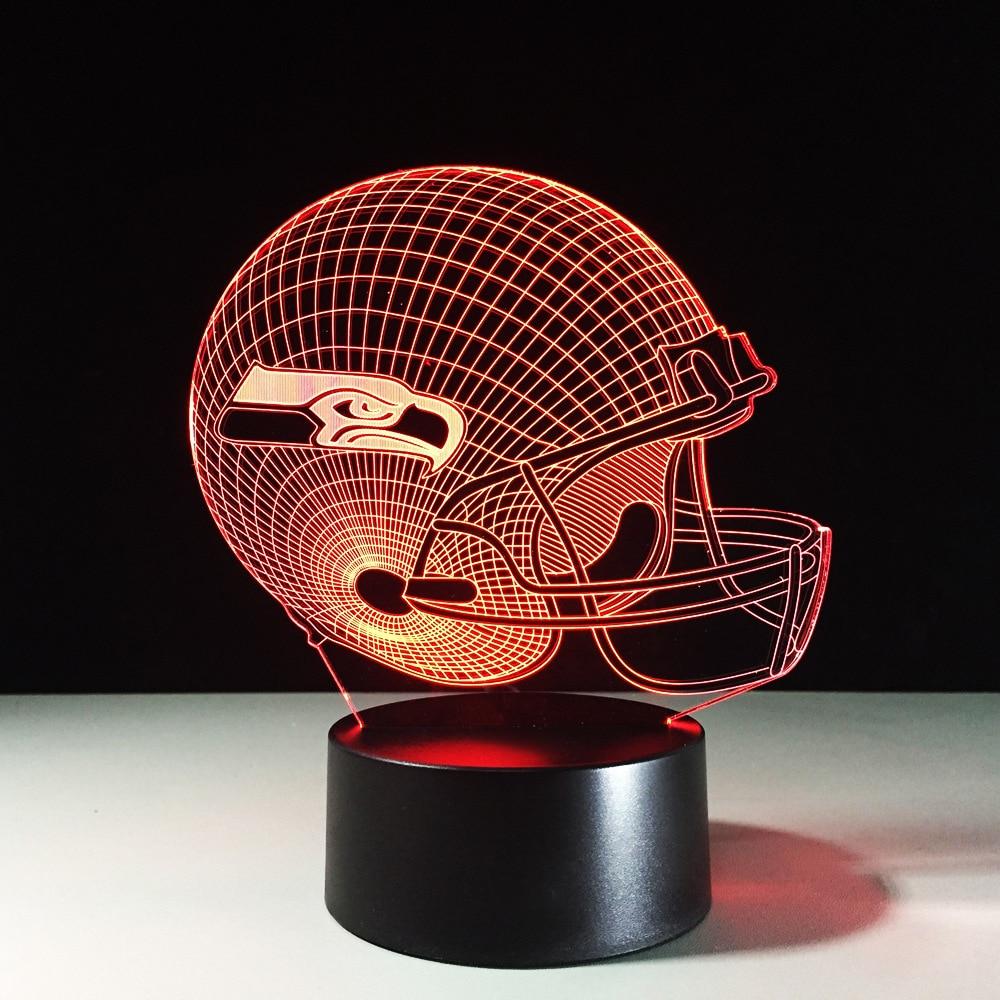 Fantastic 3D Eagle Night Light American Football Cap Desk Lamp Rugby Helmet LED Lamp Lampara Sports Decor Sleep Light Xmas Gifts
