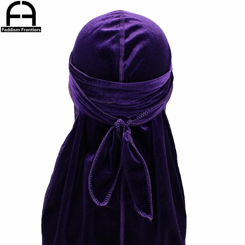 Unisex Seamless Velvet Durag Long Tail Durags Bandanas for Men Turban Hat Headwear Soft Hair Accessories Waves Cap Do Rag in Men 39 s Headbands from Apparel Accessories