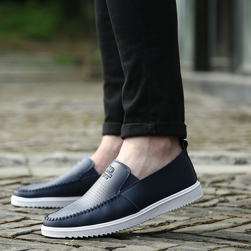 2017 Men's Loafers  Boat Driving Pea Shoes Breathable Hollow Out Slip On Flats Casual Summer zapatos hombre 43 44 45 Big Size fashion nature leather men casual shoes light breathable flats shoes slip on walking driving loafers zapatos hombre