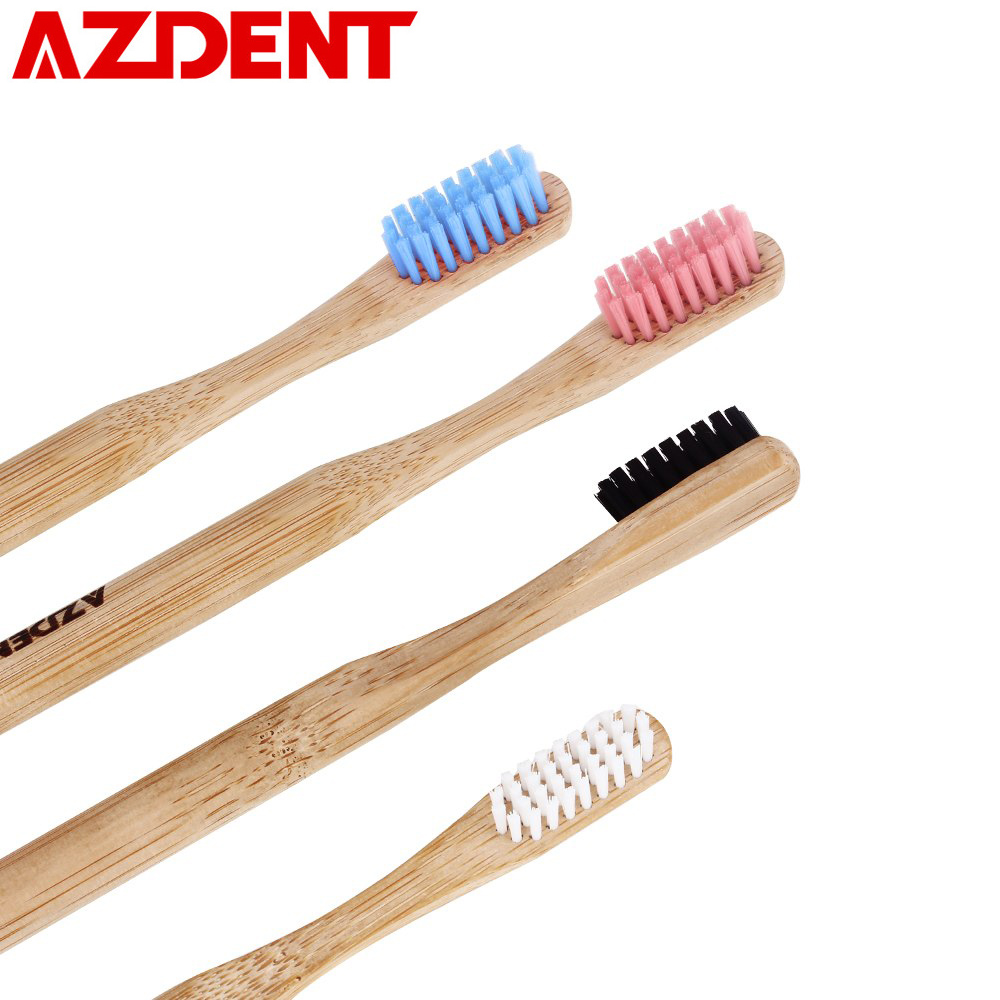 AZDENT 2Pcs/lot Professional Wooden Toothbrush Bamboo Charcoal Toothbrush Nano Brush Double Ultra Soft Bristle Best Quality image