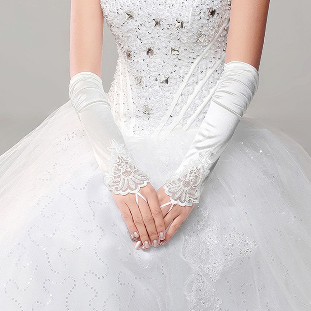 1Pc White Gloves Lady Faux Pearl Embroidery Fingerless Wedding Bridal Hot Sale Beads Party Applique Lace Bridal Accessories