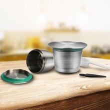Neue Edelstahl Metall Nespresso Wiederverwendbare Kapsel Nachfüllbare Wiederverwendbare für Nespresso Maschine + 1 Löffel + 1 Pinsel Kostenloser Versand