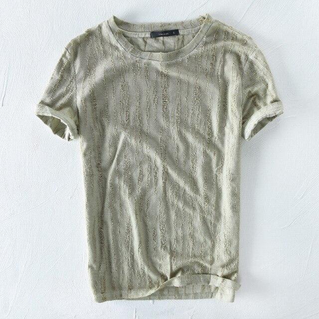 Summer New Khaki Linen T Shirt Men Short Sleeve Retro Chinese Style Design Cotton