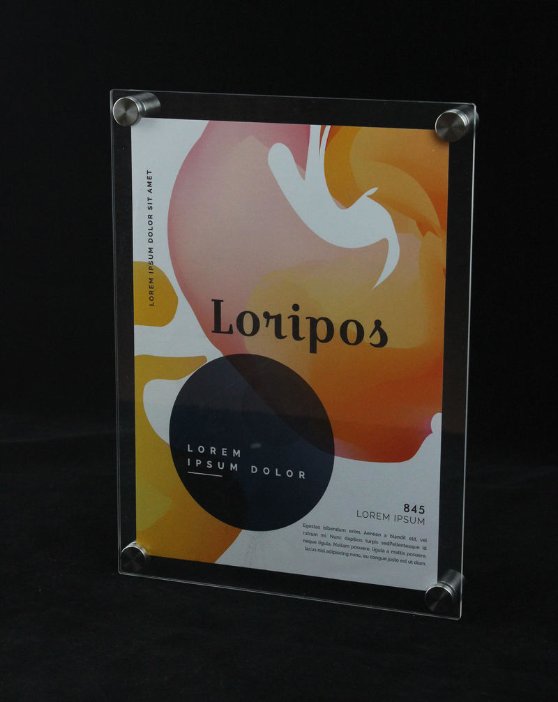 A4 A5 Wall Mounted Acrylic Plexiglass Poster Frames Perspex Floating Frames 12 inches Photo frame holder