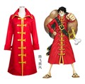 Anime One Piece Cosplay 2 Years Later Monkey D Luffy Cosplay Costume Red Cloak Straw Hat Pirate Captain Cosplay Overcoat