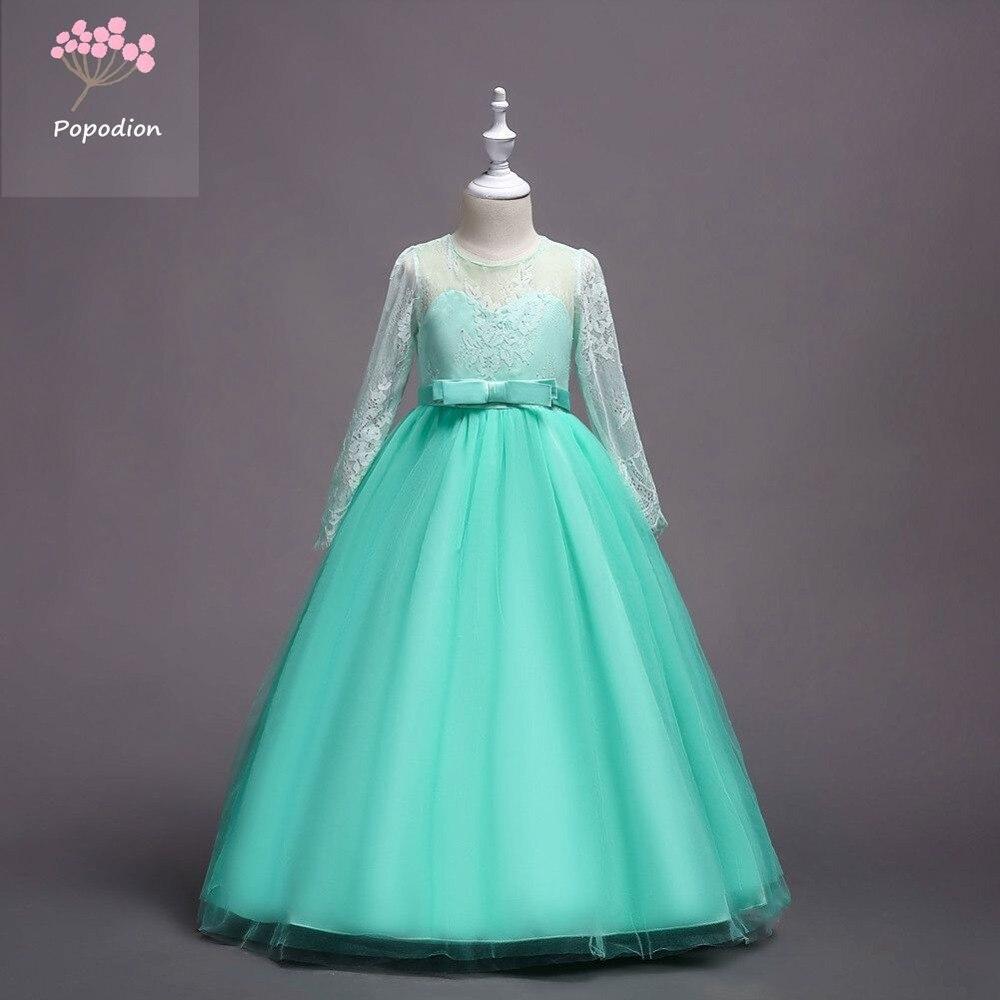 Popodion  long sleeve flower girl dresses  elegant bow  tulle girls dresses  FGD10106