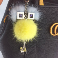 Famous Brand Luxury Cute Funny Monster Fluffy Mink Fur Pompom Keychain Pendant Car Key Chain Bag Charm Women Bagpack Accessories