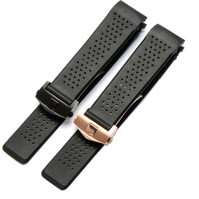 Rubber Watch Strap 22mm 24mm Silicone Wristband Bracelet Mans Watchband Black Wristwatches Band Air Hole Watch Belt Flod Buckle