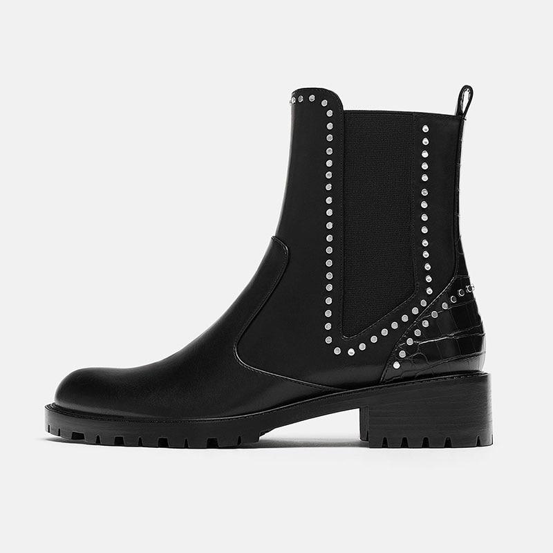 Chaussures on Noir Carré Bout Bottes Ty01 Talons Femmes 2018 De Adultes PrintempsAutomne Cheville Slip Mode Haute Chelsea Pointu Solide Dames Rivet L5j4qRA3