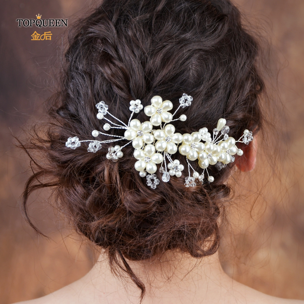 TOPQUEEN Wedding Hair Accessories Flowers Hair Clips Hair Accessories Elegant Golden Wholesale Hair Pins Comb HP05