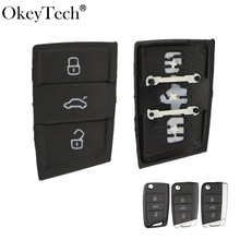 Okeytech 3 Buttons Remote Rubber Car Key Pad For VW Golf 7 4 5 Mk4 6 For Skoda Octavia For Seat Leon Ibiza Altea Key Fob
