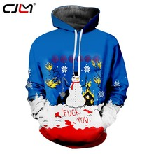 CJLM Christmas Men s Funny Oversized Pullover 6XL 3D Full Printed Man Blue  White Snowman Hoodies Best Selling Suppliers d2ce0a606930