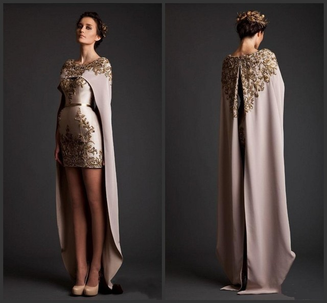 Saudi Arabia Gold Appliqued Evening Dresses Hi Lo Asymmetrical ...