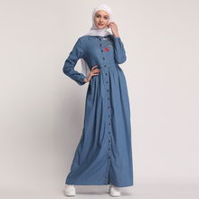 Women's Cardigan Dress Embroidered Full Button Middle East Robe Cardigan Denim Dress 2019 The New Fashion Long Cardigan Dress недорго, оригинальная цена