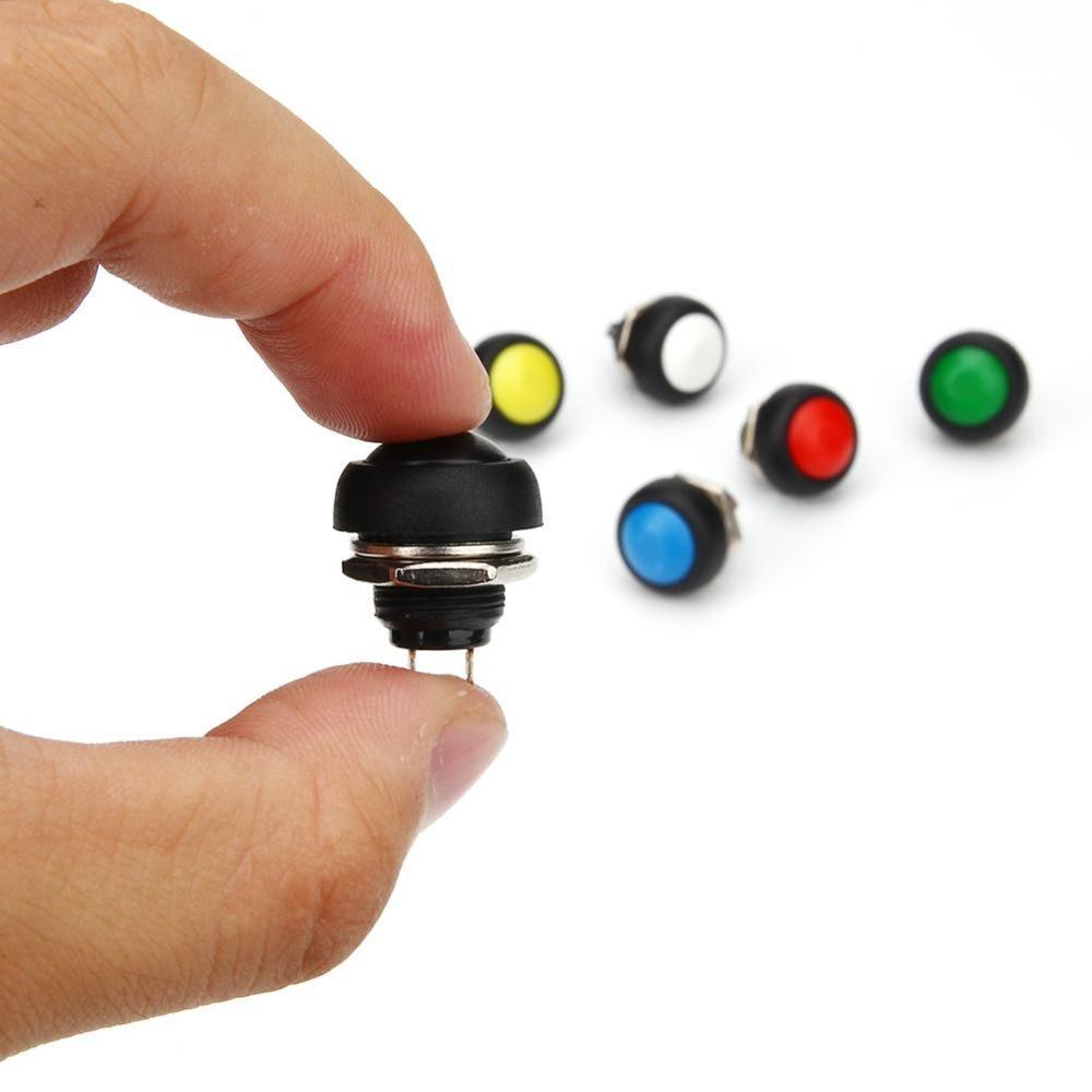 5Pcs Black Mini Switch 12Mm Waterproof Momentary Push Button Switch 250V 1A ch
