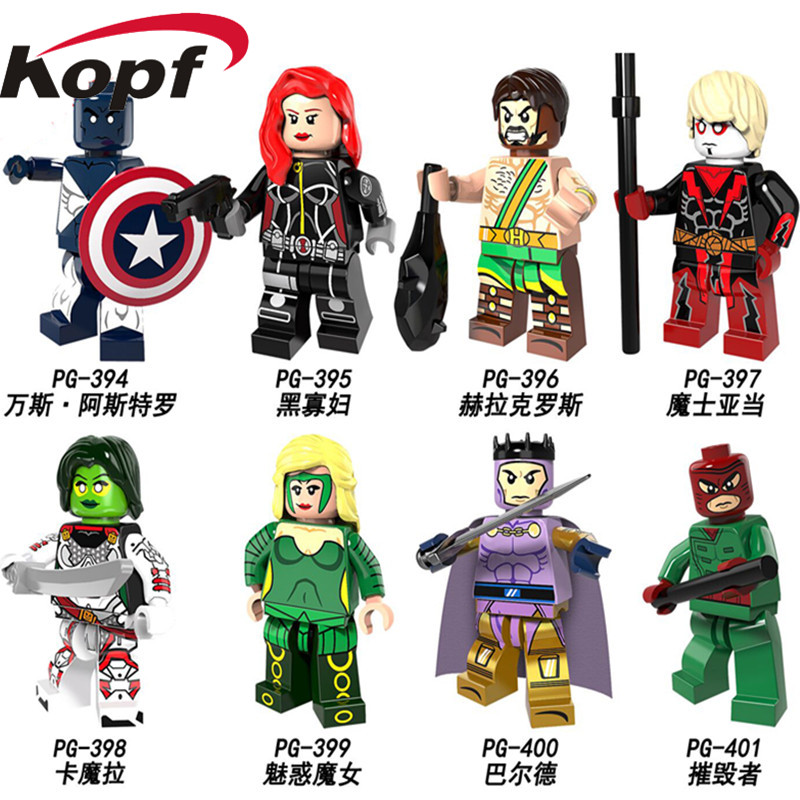 Single Sale Super Heroes Black Widow Heracles Adam Warlock Gamora Amora Wrecker Balder Building Blocks Children Gift Toys PG8108 building blocks super heroes back to the future doc brown and marty mcfly with skateboard wolverine toys for children gift kf197