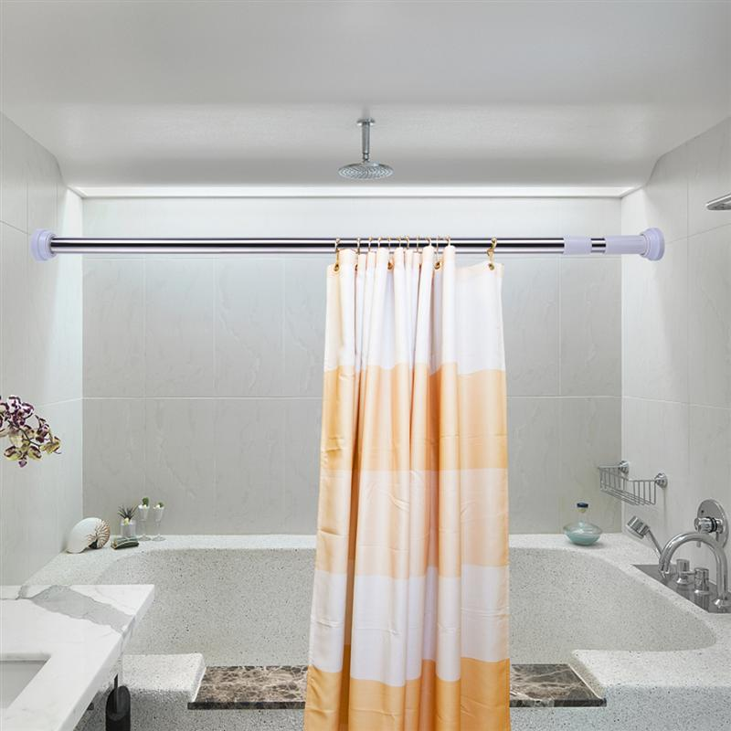 OUNONA Stainless Steel Bathroom Shower Curtain Rod Adjustable Tension Clothes Hanger Closet Organizer Storage Rack In Drying Racks Nets From