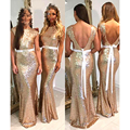 Cheap Rose Gold Sequined Mermaid Long Bridesmaid Dresses With Sashes Open Back Prettiest Bridesmaid Maxi Gown Wedding Women Gown
