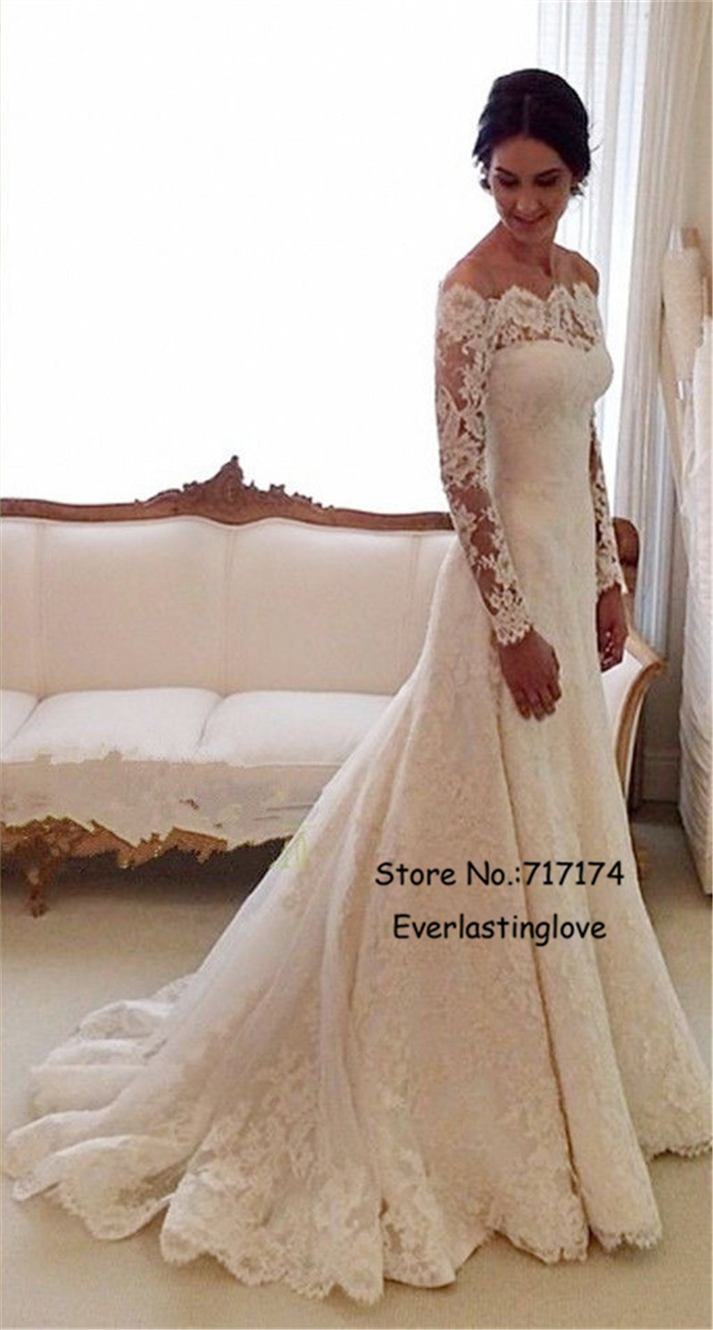 White Off the shoulder Lace Long Sleeve Bridal Gowns Sheath Cheap ...