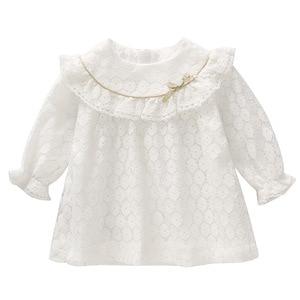 Image 2 - ため秋のコットンレース A ラインドレス子供服洗礼新生児ガール服 0 2Y ピンク白