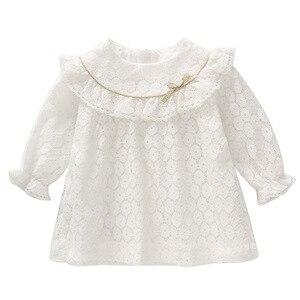 Image 2 - Vestidos infantis para meninas, vestidos para crianças para meninas de outono, algodão, laço, linha a, roupas para bebês, batizado, roupas para meninas recém nascidas, rosa, branco