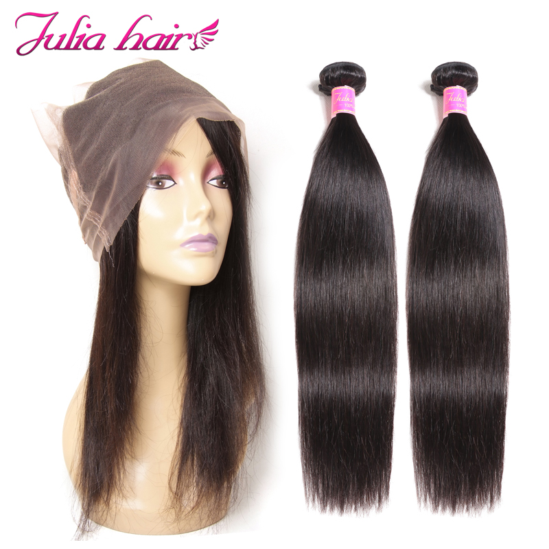 Ali Julia Hair 360 Lace Frontal Closure With Bundles Brazilian Straight Human Hair Bundles With Closure
