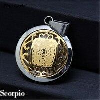 נירוסטה זהב וכסף עקרב מזלות הורוסקופ אסטרולוגיה תליון קונסטלציה מטבע קסם סימן wz 24
