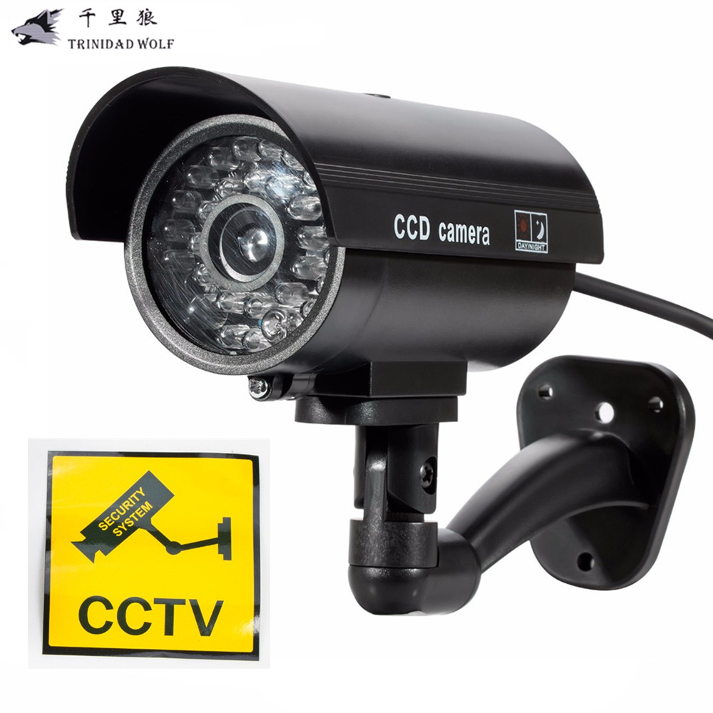 TRINIDAD WOLF Fake Dummy Camera Outdoor Indoor Waterproof Security CCTV Surveillance Camera With LED light