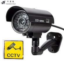 TRINIDAD WOLF Fake Dummy Camera Outdoor Indoor Waterproof Security CCTV Surveillance Camera With LED light(China)
