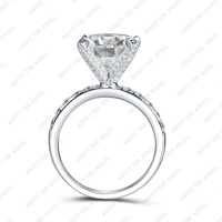 7 5mm 1 50ct Round Moissanite Moon Frame Fashion Ring In 14K White