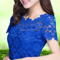 2015 Новый Короткий Рукав Футболка Топ Для Женщин Clothing женская Кружева Блузка Sexy Цветочные Sheer Блузки blusas femininas М-5XL 945