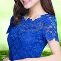 2015 novo camisa de manga curta tee top para as mulheres clothing mulheres Blusa de Renda Sexy Floral Sheer Blusas blusas femininas M-5XL 945