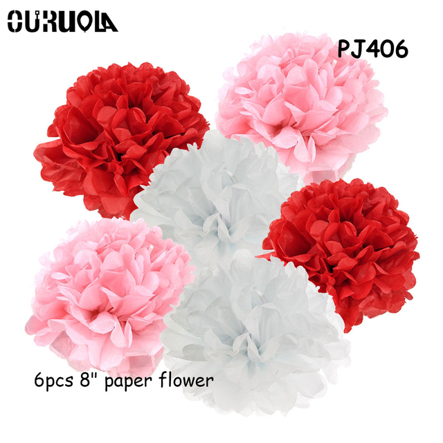 6pcs Artificial Peonies Paper Flowers Peony Flower Wall Tissue Paper