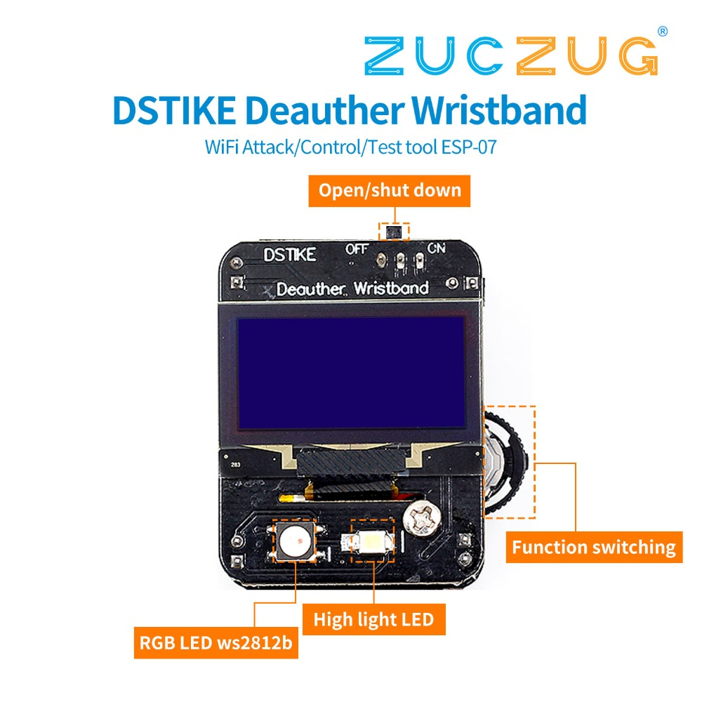 DSTIKE Deauther Wristband WiFi Attack/Control/Test tool ESP-07 1.3OLED 600mAh battery RGB LED no PB ESP8266 development boardDSTIKE Deauther Wristband WiFi Attack/Control/Test tool ESP-07 1.3OLED 600mAh battery RGB LED no PB ESP8266 development board