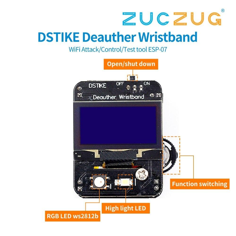 DSTIKE Deauther bracelet WiFi attaque/contrôle/outil de Test ESP-07 1.3O LED 600 mAh batterie RGB LED no PB ESP8266 carte de développement