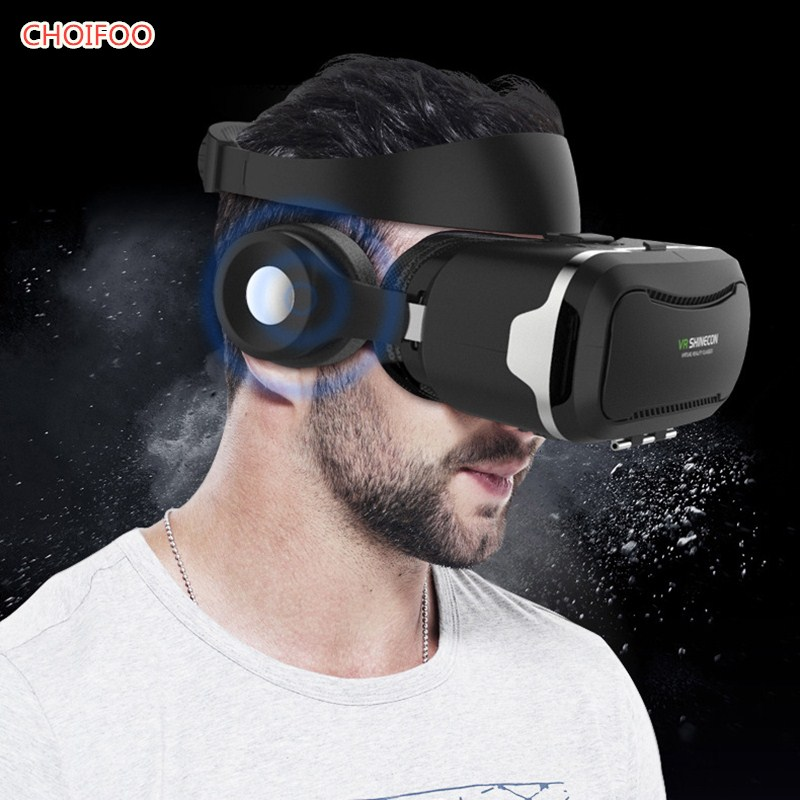 2017 New 3D VR Glasses Virtual Reality Shinecon Goggles VR Pro within Headphone for 4.5-6.0 inch ios Android smartphone