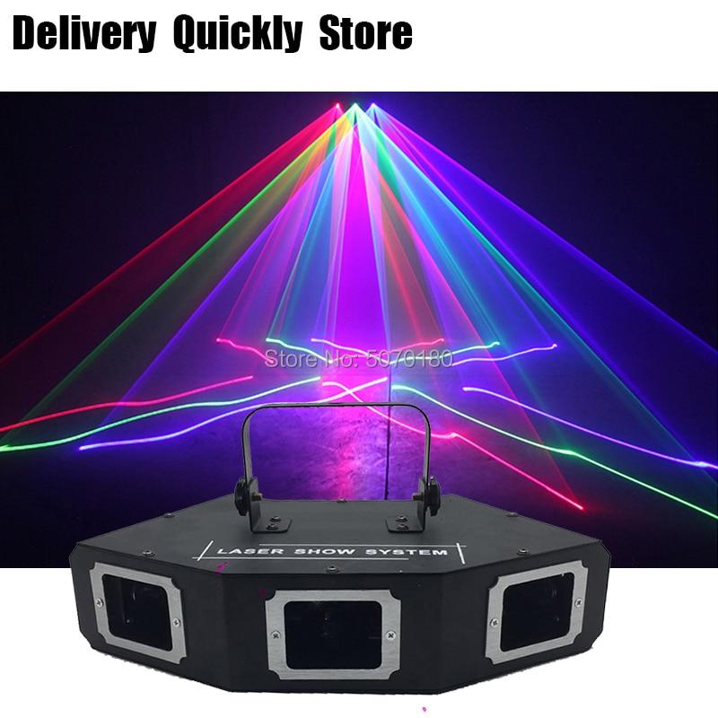 Sector Line Scanner disco laser 3Lens RGB Lazer professinol DJ Dance Bar Coffee Xmas Home Party Disco Effect Light System Show